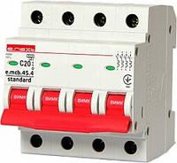 Модульный автоматический выключатель e.mcb.stand.45.4.C20, 4р, 20А, C, 4.5 кА, фото 1