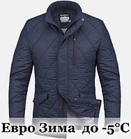 Куртка стильная Еврозима - 1214 темно синий - красный, фото 1