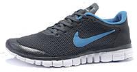 Мужские кроссовки Nike Free Run 3.0 V2 Blue/Dark Grey, найк