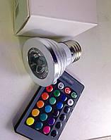 Лампа Lemanso св-ая RGB 3W  E27 с пультом 85-230V