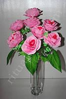 Искусственный букет из круглых роз № 404