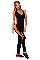 Женский спортивный боди комбинезон черный с оранжевой полосой ORANGE KINGDOM