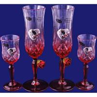 Набор: 2 свадебных бокала для шампанского и 2 рюмки для водки, в подарочной коробке Suggest. арт. PS1348436D