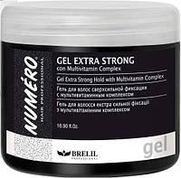 Гель для волос экстрасильной фиксаци с мультивитаминным комплексом  500 мл Numero Gel Extra Strong Hold Brelil