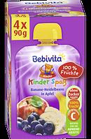 Bebivita Kinder-Spaß Banane-Heidelbeere in Apfel - Детское фруктовое пюре банан-голубика с яблоком, 360 г