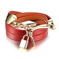 Браслет кожаный красный с ключиком и замочком R1072