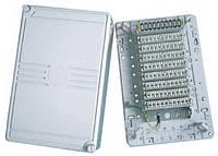 Кросс-бокс пластиковый на 100 пар, с монтажным хомутом, без плинтов, на защёлках, IP30