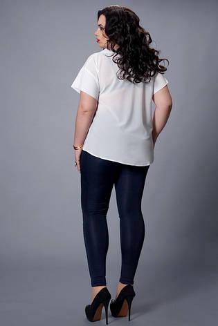 Однотонная темно-синяя шифоновая блузка большой размер, фото 2