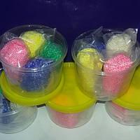 Шариковый пластилин мелкозернистый 40г, заст. 4 цвета по 10 г. в баночке.Зернистая масса для лепки, фото 1