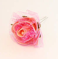 Шпилька для волос металл Розочка силикон-10 шт.- 6,5 см., фото 1