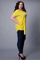 Летняя желтая блуза с поясом  большой размер