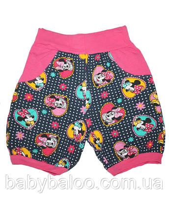 """Трикотажные шорты на девочку """"Мики в сердце"""" (от 3 до 8 лет), фото 2"""