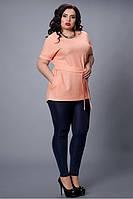 Летняя персиковая блуза с поясом  большой размер