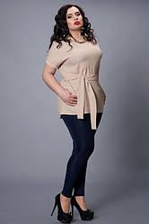 Летняя блуза цвета капучино с поясом  большой размер