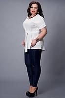 Летняя белая блуза с поясом  большой размер