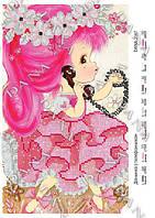 Схема для вышивки бисером Девочка с телефончиком