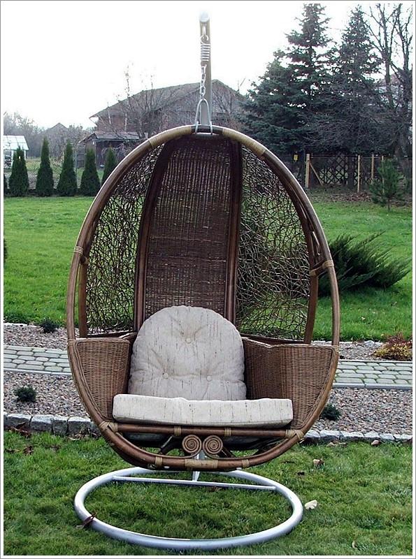 Подвесное кресло-качалка Кокон из натур. ротанга