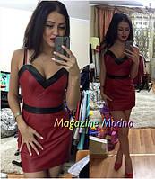 Платье стильное мини из экокожи в разных цветах SMM210