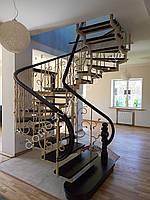 Обшивка деревом лестничного металлического каркаса, фото 1