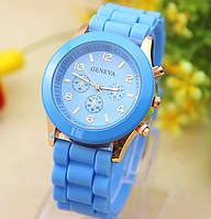 Женские часы силиконовые Geneva Luxury Blue голубые