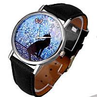 Стильные женские часы с изображением черной кошки