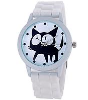 Женские часы GENEVA Женева с белым циферблатом и КОТОМ, силиконовый браслет (белый), часы женские на ремешке