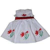 Детское платье для девочки белое с красной вышивкой и поясом, украшено лилиями на 2,3,4,5 лет