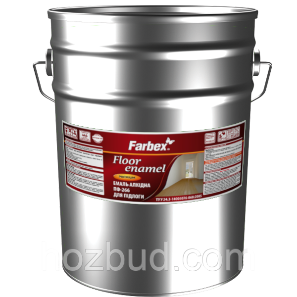 Эмаль алкидная ПФ-266 для пола Farbex желто-коричневая 25 кг
