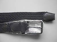 """Ремень унисекс с шпеньком тёмно-серый (резинка, плотная плетёнка, 35 мм.)  """"Remen"""" LM-638"""