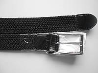 """Ремень унисекс с шпеньком чёрный (резинка, плотная плетёнка, 35 мм.)  """"Remen"""" LM-638"""