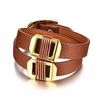 Браслет кожаный коричневый с золотистыми пряжками BR1068