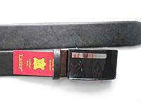 """Ремень мужской автомат чёрный (кожа, зажим резиновый валик 35 мм.)  """"Remen"""" LM-638"""
