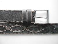 """Ремень мужской шпенёк чёрно-серый (кожа, 45 мм.)  """"Remen"""" LM-638"""