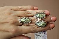 Шикарный гарнитур серебро 925 пробы с вставками золота 375 пробы, камень опал