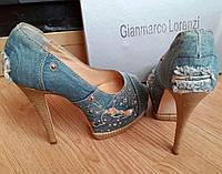 Женские стильные туфли Gianmarco Lorenzi на каблуке с камнями. Витрина. ЮГ1262
