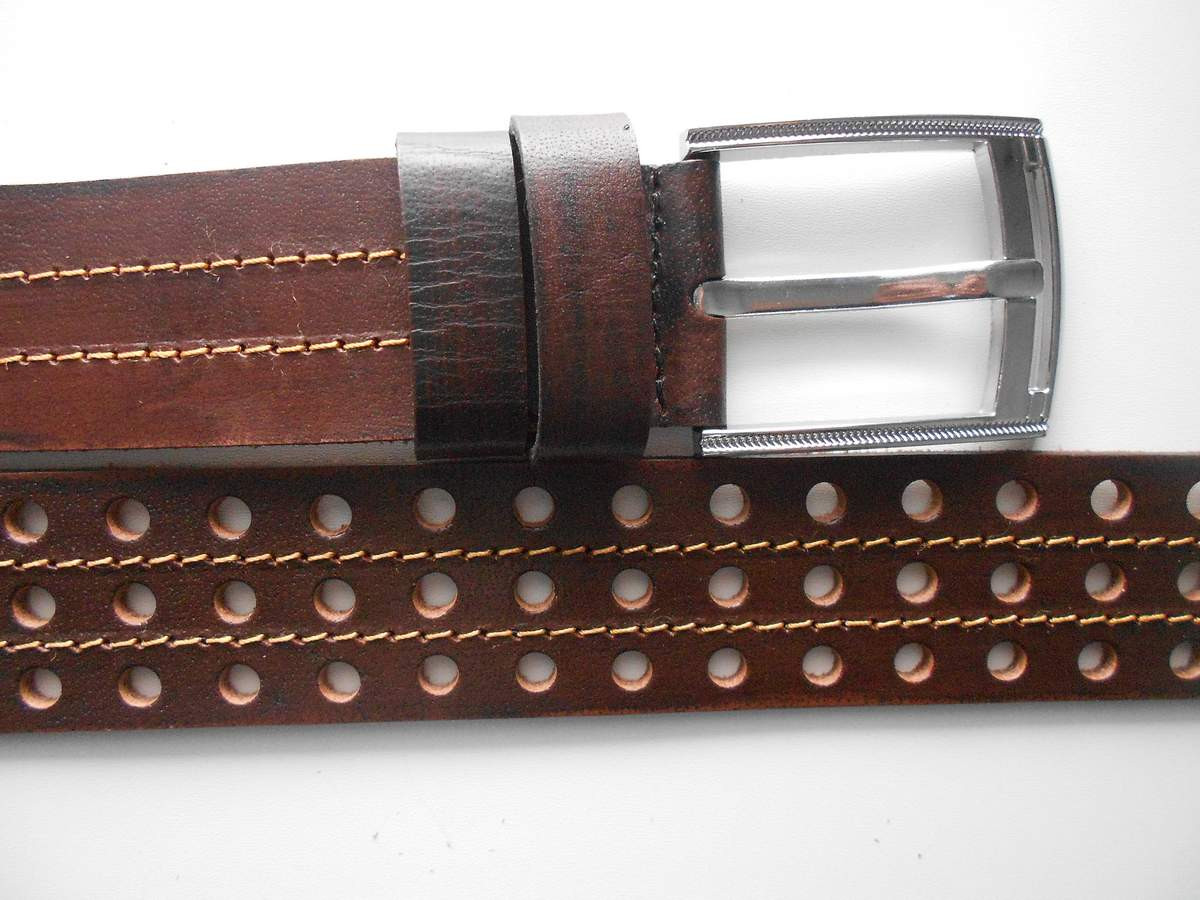 """Ремень мужской шпенёк коричневый (кожа, 40 мм.)  """"Remen"""" LM-638"""