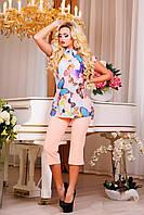 Капри летние из костюмной ткани 0807 44–52р. персик