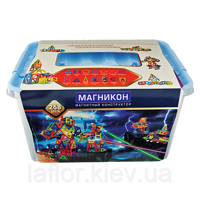 Магнитный конструктор Магникон 268 деталей + бесплатная доставка по Украине, фото 2