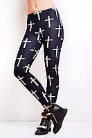 Спортивные чёрные лосины женские с чёрным крестом