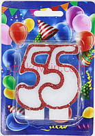 Юбилейная тортовая свеча цифра Контур - 55 лет