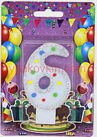 Тортовая свеча цифра Горошек голубая - 6 лет