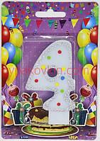 Тортовая свеча цифра Горошек  голубая - 4 годика