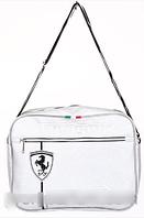 Сумка спортивная Ferrari серебряный с черным (кожзам)  RS