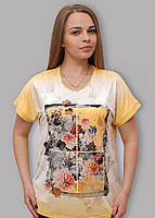 Женская батальная туника в цветы, фото 1