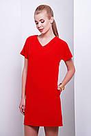 Женское платья из костюмной ткани с молнией на спинке красного цвета