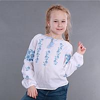 Вишита сорочка для дівчинки (блакитна вишивка), фото 1