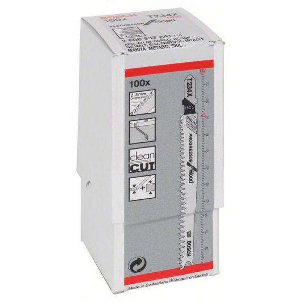 Пилки лобзиковые Bosch 100 шт T 234 X, HCS