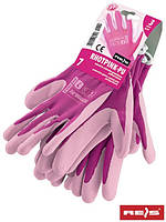 Защитные рукавицы, выполнены из полиэфира, покрыты полиуретаном RHOTPINK-PU RW