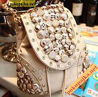 """Городской стильный женский рюкзак """"button""""Пуговица цвет молочный (беж)"""