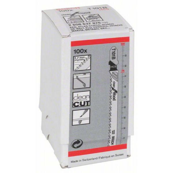 Пилки лобзиковые Bosch 100 шт T 101 B, HCS